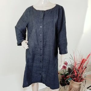 Eileen Fisher Gray Button-Up Dress With Pockets